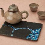 mosaïque sur objets-dessous-de-plat bleu