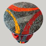 mosaïque sur mobilier-guéridon-plateau 1