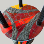 mosaïque sur mobilier-guéridon-plateau 2