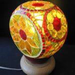 mosaïque sur objets-lampe à poser-fleurs