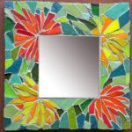 mosaïque sur objets-miroir fleurs