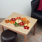 mosaïque sur mobilier-table basse