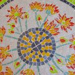mosaïque sur mobilier-table bistrot-détail