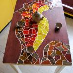 mosaïque sur mobilier-table de cuisine