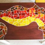 mosaïque sur mobilier-table de cuisine-plateau